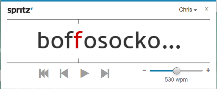 A picture of the Spritz RSVP reading interface featuring the word Boffosocko.